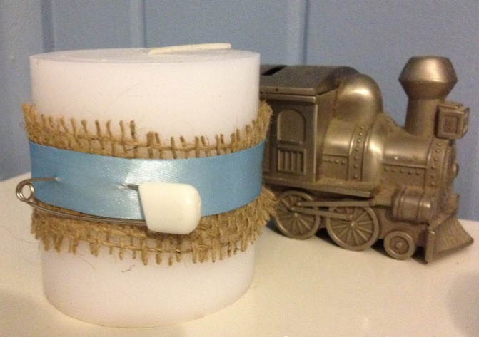 How to: Baby Shower Favour, Burlap wrapped Candle
