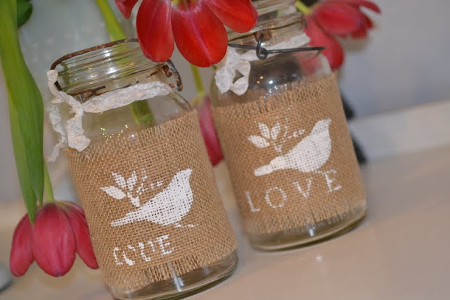 Burlap Wrapped Mason Jars great gift for Valentines, Mothers Day, Easter