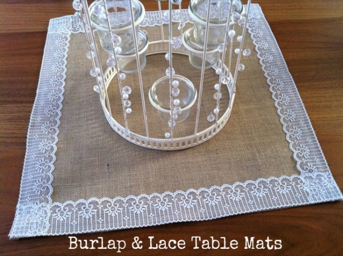 Burlap and Lace Table Mats make Perfect Wedding or High Tea Decor