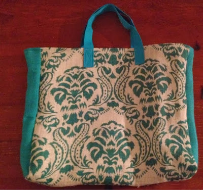 Aqua and Cream Burlap Tote for handmade swap